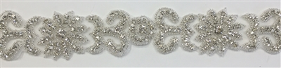 RHS-TRM-1409-SILVER.  CRYSTAL RHINESTONE TRIM - 2 INCHES WIDE - REPEAT LENGTH 5.5