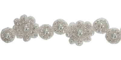 RHS-TRM-1410-SILVER.  CRYSTAL RHINESTONE TRIM - 1.5 INCHES WIDE