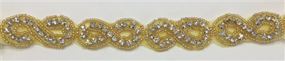 RHS-TRM-104-GOLD-RHINESTONE TRIM.  1 Inches