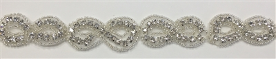 RHS-TRM-1419-SILVER.  CRYSTAL RHINESTONE TRIM - 1 INCHES WIDE