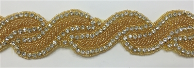 RHS-TRM-1420-GOLD.  CRYSTAL RHINESTONE TRIM WITH GOLD BEADS - 1.5 INCHES WIDE