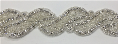 RHS-TRM-1420-SILVER.  CRYSTAL RHINESTONE TRIM - 1.5 INCHES WIDE