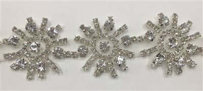 RHS-TRM-1432-SILVER.  SILVER HOT FIX CRYSTAL RHINESTONE TRIM - 2 INCH WIDE