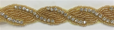 RHS-TRM-1440-GOLD.  CRYSTAL RHINESTONE TRIM WITH GOLD BACKING - 0.75 INCH WIDE