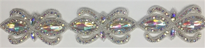 RHS-TRM-1504-AB.  AB CRYSTAL RHINESTONE TRIM - 2 INCHES WIDE - REPEAT LENGTH 4 INCHES