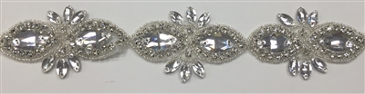 RHS-TRM-1507-SILVER.  CRYSTAL RHINESTONE TRIM - 2 INCHES WIDE - REPEAT LENGTH 3 INCHES