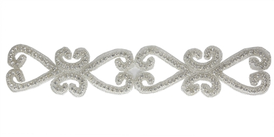 RHS-TRM-1518-SILVER.  CRYSTAL RHINESTONE TRIM - 2 INCHES WIDE - REPEAT LENGTH 5 INCHES