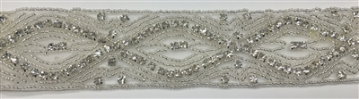 RHS-TRM-1535-SILVER.  CRYSTAL RHINESTONE TRIM - 1.5 INCHES WIDE