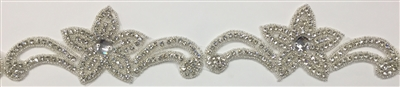 RHS-TRM-1549-SILVER.  CRYSTAL RHINESTONE TRIM - 3 INCHES WIDE - REPEAT LENGTH 7 INCHES