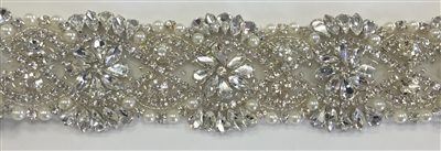 RHS-TRM-1550-SILVER.  Hot-Fix or Sew-On Clear Crystal Rhinestone Trim WITH Pearls- 1.5 Inch Wide