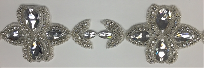 RHS-TRM-1554-SILVER.  CRYSTAL RHINESTONE TRIM - 2 INCHES WIDE