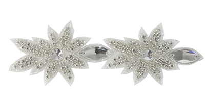 RHS-TRM-1565-SILVER.  CRYSTAL RHINESTONE TRIM - 2 INCHES WIDE - REPEAT LENGTH 4 INCHES