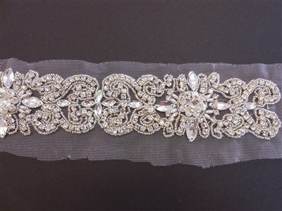 RHS-TRM-1575-SILVER.  CRYSTAL RHINESTONE TRIM - 2.25 INCHES WIDE - REPEAT LENGTH 4 INCHES