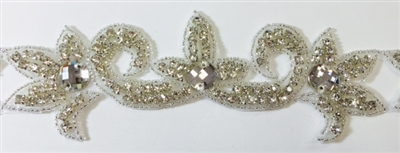RHS-TRM-1584-AB.  AB CRYSTAL RHINESTONE TRIM - 2 INCHES WIDE - REPEAT LENGTH 6.5 INCHES