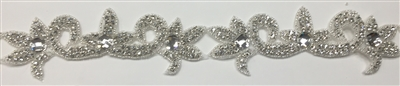 RHS-TRM-1584-SILVER.  CRYSTAL RHINESTONE TRIM - 2 INCHES WIDE - REPEAT LENGTH 6.5 INCHES