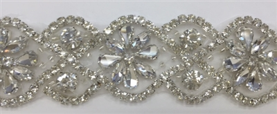 RHS-TRM-T016-SILVER.  Hot-Fix or Sew-On Clear Crystal Rhinestone Trim - 1.25 Inch Wide