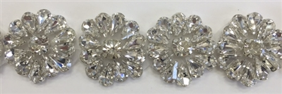 RHS-TRM-T030-SILVER.  Hot-Fix or Sew-On Clear Crystal Rhinestone Trim - Silver Cup - 1 Inch Wide